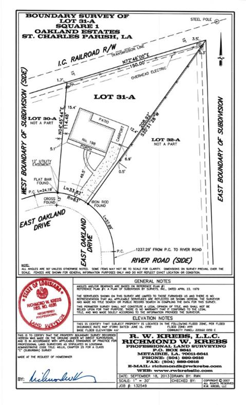 Sample Boundary Survey from Richmond W Krebs and Associates Land Surveying